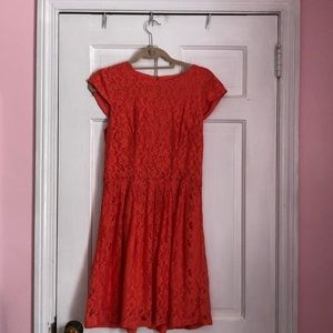 Medallion Lace Coral fit & flare dress